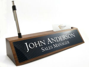 Desk Name Plate Card Pen Holder Walnut Wood Carbon Fiber Look Aluminum Plate