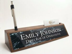 Desk Name Plate Card Pen Holder Walnut Wood Black Marble Look Aluminum Plate