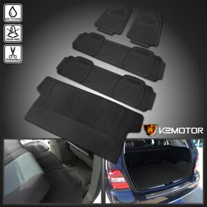 Black Heavy Duty All Weather Rubber Floor Mats Front Rear Trunk Seat Truck Suv