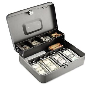 Steelmaster Tiered Cash Box With Bill Weights 12 In Cam Key Lock Charcoal
