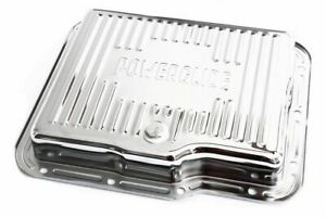 Gm Chevy Powerglide Chrome Steel Transmission Pan Ribbed Style W Drain Plug