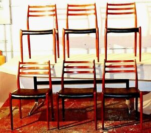 Vintage Danish Modern J L Moller Rosewood Set Of 6 Dining Chair Mid Century