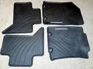 Rubber All Weather Tacoma Logoed Black Floor Mats Set Of 4 For Toyota Tacoma