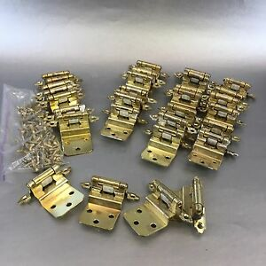 14 Of 28 Vintage Mid Century Brass Finish Overlay Cabinet Door Hinges Hardware