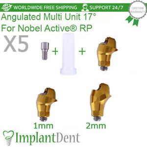 5 Sets Of Angled Multi Unit Abutment 17 Nobel Active Hex Rp Plastic Sleeve