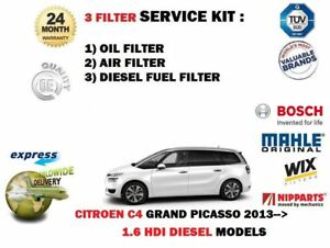 For Citroen C4 Grand Picasso 1 6 Hdi 2013 Oil Air Fuel 3 Filter Service Kit