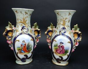 Pair Antique French Vieux Old Paris Porcelain Hand Paint Vases 11 Inches