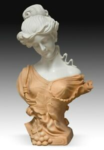 Lady Bust Marble After Ca 1900 Models From French Art Nouveau