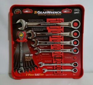 Gearwrench 7 Piece Sae Ratcheting Combination Wrench Set