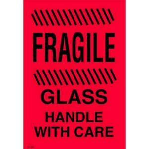 4 X 6 Fragile Glass Handle With Care Labels 500 Per Roll
