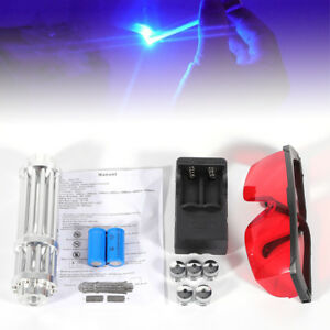 5mw Blue Laser Pointer Match Pen Burning Beam Lights 450nm Military Kit goggles