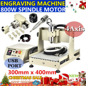 Cnc Router Engraver Machine Engraving Drilling 4 Axis 3040 Desktop Milling 110v