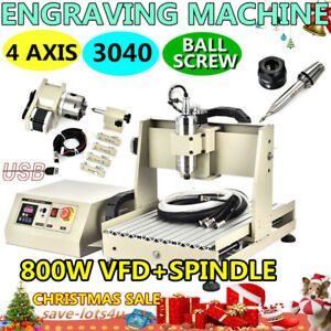 800w Vfd Cnc3040 4 Axis Usb Router Engraver Engraving Drilling Milling Machine