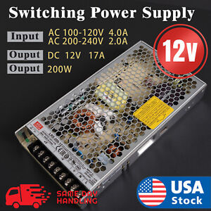 Mean Well Lrs 200 12 Power Supply 12v 17a 200w Input 110v 220v Ac To Dc