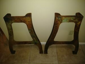 Early 1900s Industrial Cast Iron Table Legs Original