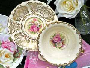 Germany Tea Cup And Saucer Floral Rose Gold Gilt Work Teacup German