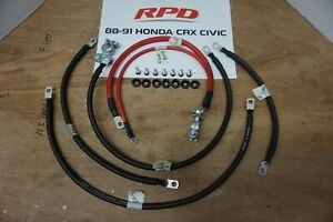 88 91 Honda Civic Crx Ef Battery Cable Ground Wire Kit W Hardware Jdm 4ga