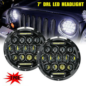 2x 200w 7 Round Cree Led Drl Headlight Hi lo Beam Lamp For Jeep Wrangler Tj Jk