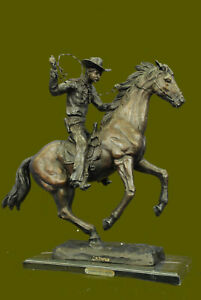 Vintage Frederic Remington Bronze Outlaw Cowboy Western Statue On Marble L 24