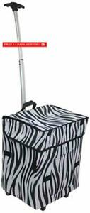 Dbest Products Smart Cart Zebra Collapsible Rolling Utility Cart Basket Grocery