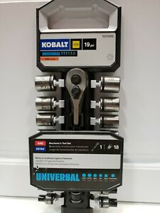 Kobalt 3 8 Ratchet Socket Mechanics Universal Tool Set Sae Metric 19 Pc New