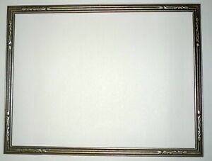 1930 S Art Deco Design Silver Painted 12 X 9 Wood Carved Picture Frame