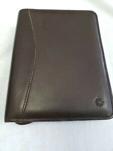 Franklin Covey Brown Full Grain Nappa Leather Compact Planner Binder