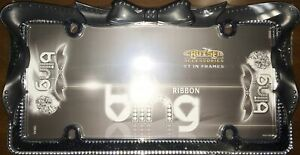 Black Ribbon Bow Crystal Bling License Plate Frame Free Screw Caps