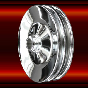 Press On Power Steering Pulley Double Groove Sb And Bb Chevy Chrome 283 454