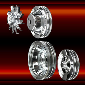 Chrome 4 Pulley Set For Small Block Chevy Long Wp 350 383 400 A C Press On Ps