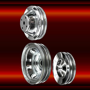 Chrome 3 Pulley Set For Sb Chevy Long Wp A C Press On Power Steering 350 383 400