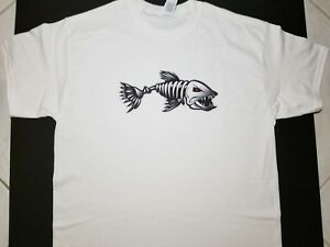 Brand New Ferocious Skeleton Fish T Shirt Ferocity Fishbone Fish Bone Go Fishing