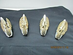 Four Vintage Gold Tone Cut Glass Swan Salt Cellars With Silver Spoons