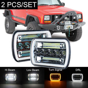 Pair 120w 5x7 7x6 Led Headlight Hi lo Beam Drl For Jeep Cherokee Xj Yj