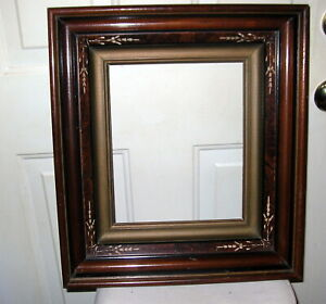 Antique Walnut East Lake Aesthetic Deep Picture Frame Carving 10 X12 Opening