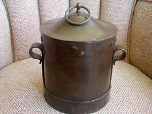 Arts Crafts Mission Ferrous Metal Container Copper Rivets Made In France W Lid