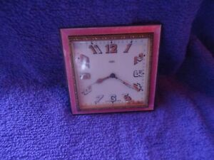 Antique Guilloche Enamel Pink 8 Day Swiss Made Clock