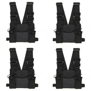 4x Radio Chest Front Pack Pouch Holster Carry Bag Baofeng Motorola Walkie Talkie