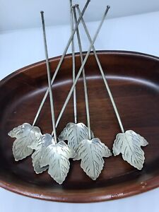 6 Vintage Mexico Sterling Silver Iced Tea Mint Julep Leaf Stir Spoons Straws