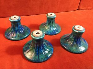 Four Antique Paul Milet Sevres France Porcelain Vase Bases Flambe Glaze