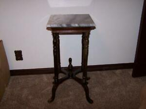 Antique Victorian Mahogany Marble Top Entry Table Plant Stand Pick Up Only