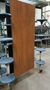 Refurbished Lunch Table Wood Grain Top W 16 Blue Stools 12ft Elementary Size