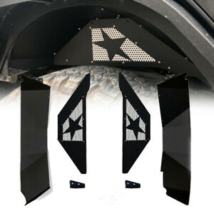 For 07 17 Jeep Wrangler Jk Rear Inner Fender Liners Kit Black Steel Offroad