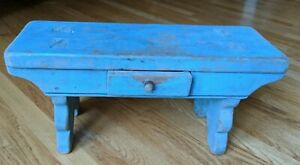 Aafa Primitive Early Pa 1900 S Sm Blue Stool W Drawer Orig Paint Square Nails