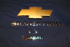 2012 Chevrolet Chevy Silverado Lt Tailgate Emblems Bowtie Letters All Pieces