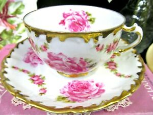 Germany Tea Cup And Saucer Pink Rose Swag Gold Gilt Teacup Pattern Footed