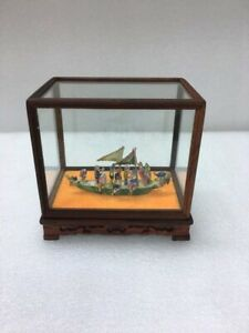 Antique Chinese Porcelain Dragon Boat Children Hand Painted
