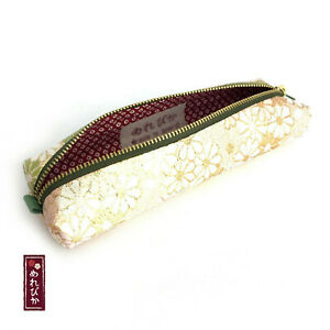 Handmade Pencil Case Pink Japanese Gold Brocade Traditional Pen Gift F s 02 03
