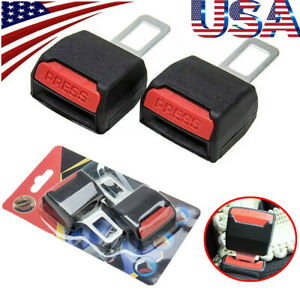 2pcs Car Safety Seat Belt Buckle Extension Alarm Eliminator Insert Clip Plug Us