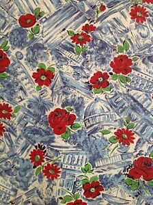 Beautiful Antique Vintage 1950s Cotton Fabric Red Rose Scenic Floral Fabric Rare